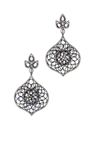 Loriann - Black & White Sapphire & Diamond Lantern Earrings