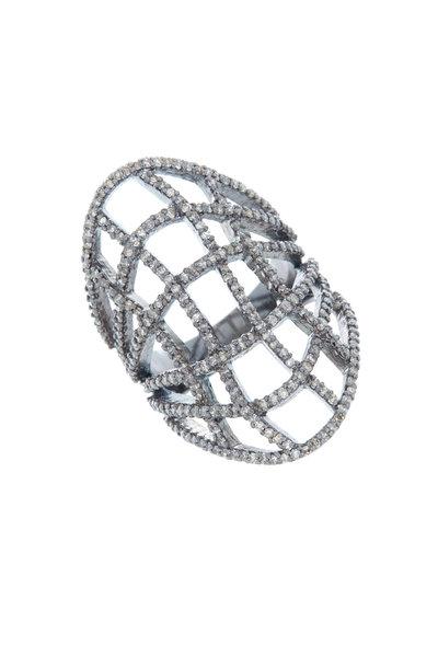 Loriann - Rhodium Silver Wavy Diamond Ring