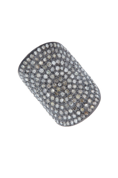 Loriann - Rhodium Silver Concave Diamond Ring