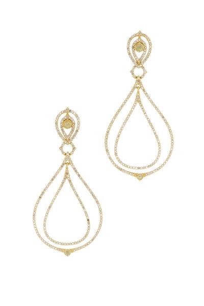 Loriann - Yellow Gold Tear Diamond Dangle Earrings