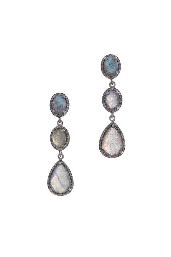 Loriann Gold & Silver Labradorite Diamond Earrings