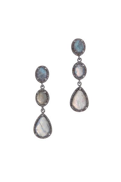 Loriann - Gold & Silver Labradorite Diamond Earrings