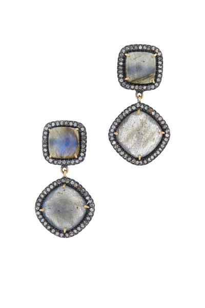 Loriann - Gold & Silver Labradorite Diamond Dangle Earrings