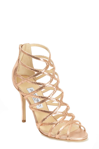 Jimmy Choo - Fiesta Rose Lizard Print Cage Sandals