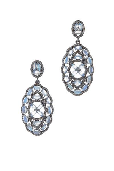 Loriann - Gold & Silver Moonstone Diamond Earrings