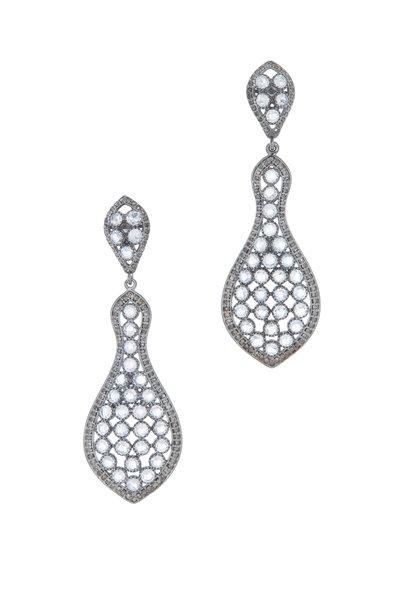 Loriann - Gold & Silver Banjo Moonstone Diamond Earrings
