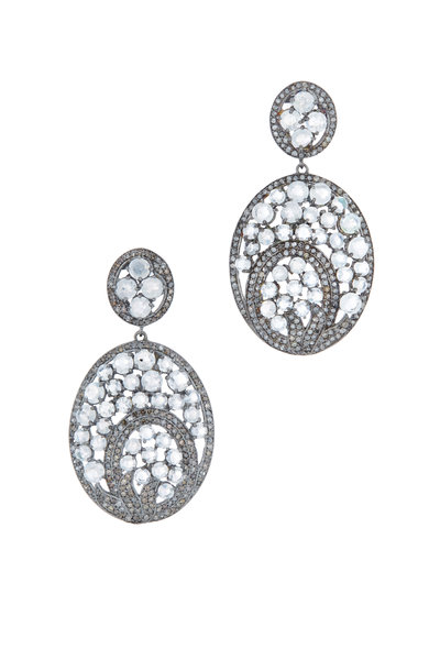 Loriann - Gold & Silver Moonstone Diamond Earrings