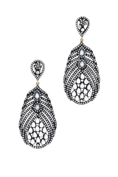 Loriann - Gold & Silver Feather Moonstone Diamond Earrings