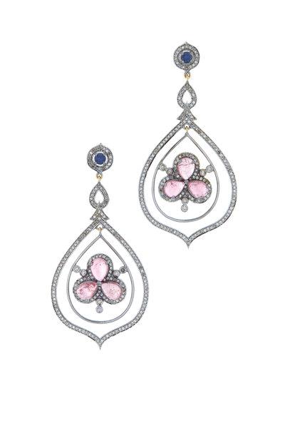 Loriann - Gold & Silver Pink Tourmaline Diamond Earrings