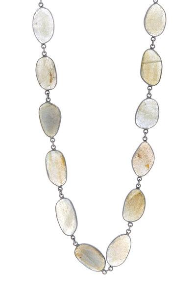 Loriann - Silver Labradorite Accessory Chain Necklace