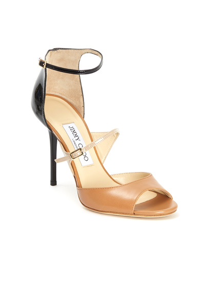 Jimmy Choo - Rambo Tan & Black Triple Strap Sandals