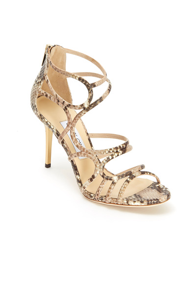 Jimmy Choo - Summit Natural Snakeskin Sandal, 85mm
