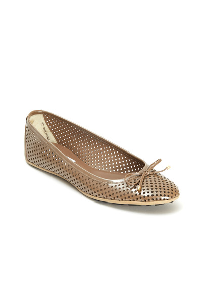 Jimmy Choo - Walsh Taupe Perforated Patent Leather Ballet Flats