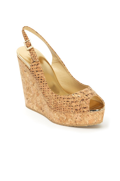 Jimmy Choo - Prova Snakeskin Peep Toe Cork Wedges