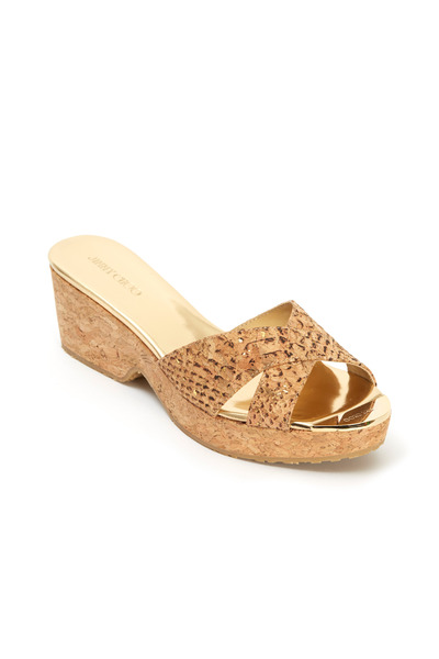 Jimmy Choo - Panna Natural Snakeskin Print Leather Slide, 50mm