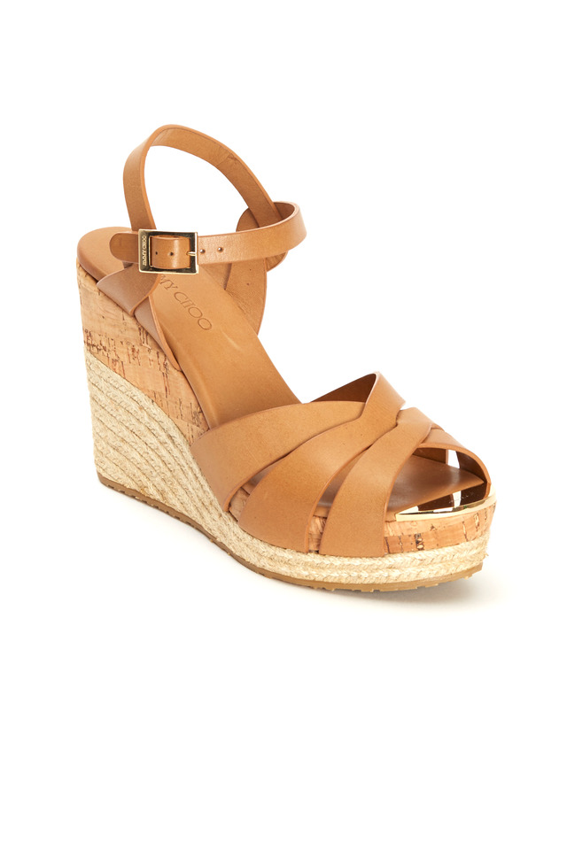 Pallet Tan Leather Platform Espadrille Wedges