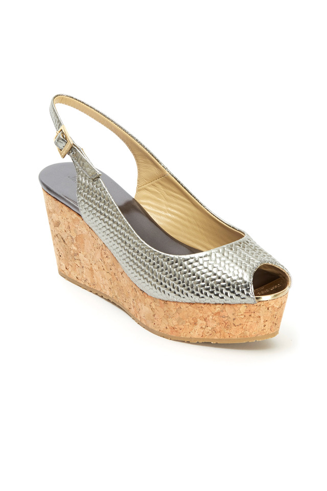 Praise Gunmetal Embossed Cork Wedges