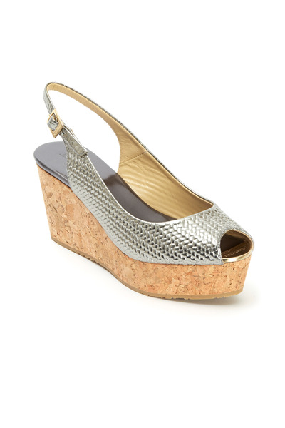 Jimmy Choo - Praise Gunmetal Embossed Cork Wedges