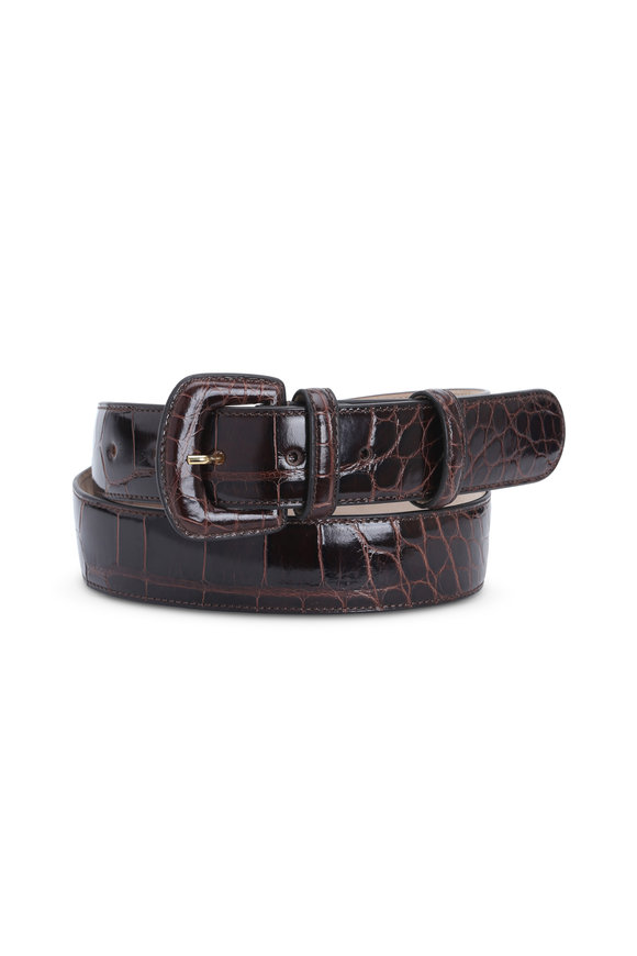 Olop Brown Shiny Alligator Belt