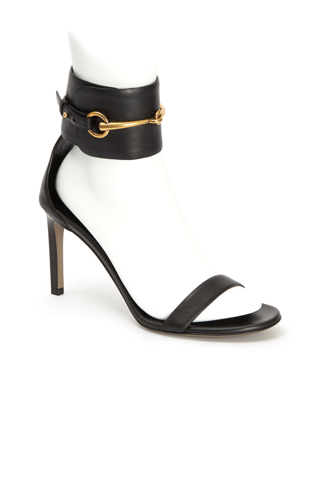 Ursula Black Leather Ankle Cuff Sandals