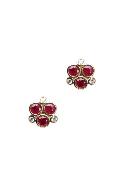 Temple St. Clair - 18K Yellow Gold Triple Ruby & Diamond Studs