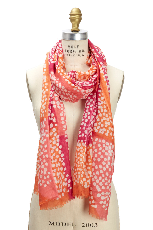 Multicolored Dot Print Silk And Cashmere Scarf