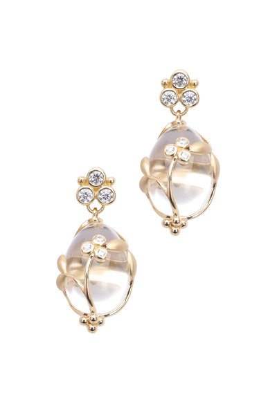 Temple St. Clair - 18K Yellow Gold Crystal & Diamond Vine Earrings