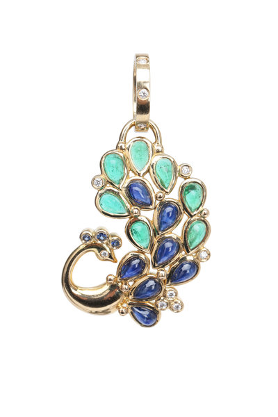 Temple St. Clair - Gold Emerald Sapphire Diamond Peacock Pendant