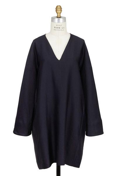 The Row - Hacan Navy Blue Linen Blend V-Neck Dress