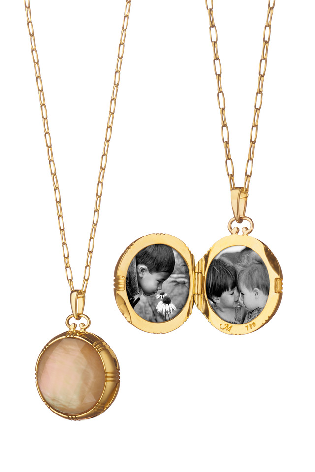 Yellow Gold Mother Of Pearl & Crystal Locket