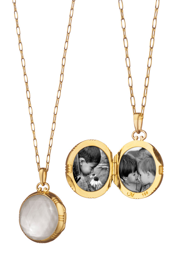 Gold Mother Of Pearl Rock Crystal Locket Necklace