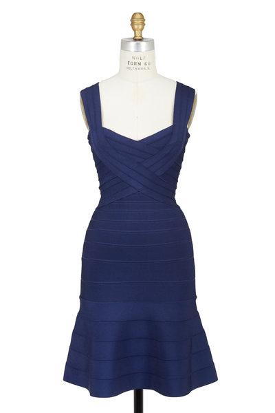 Herve Leger - Elisha Classic Blue Flounce Hem Bandage Dress