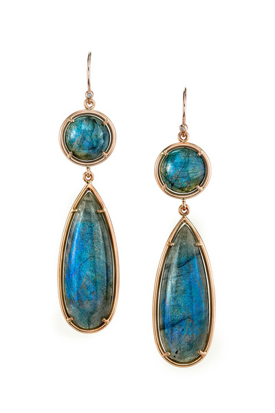 Irene Neuwirth - Rose Gold Labradorite Drop Earrings