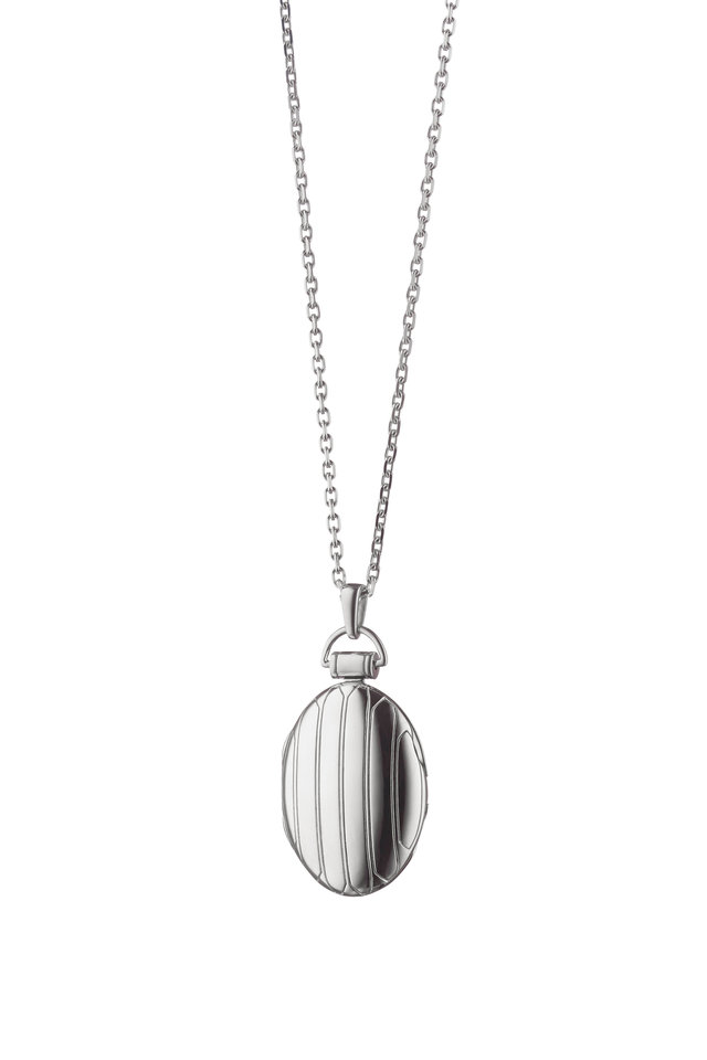 Sterling Silver Striped Locket Necklace