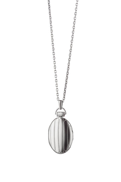 Monica Rich Kosann - Sterling Silver Striped Locket Necklace