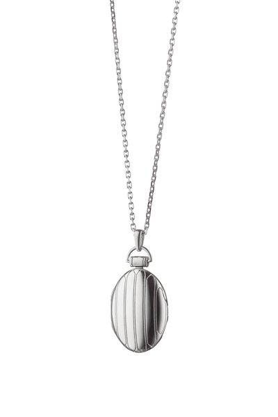 Monica Rich Kosann - Sterling Silver Striped Locket Necklace