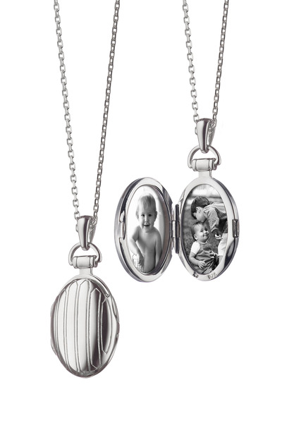 Monica Rich Kosann - Sterling Silver Pinstripe Petite Locket