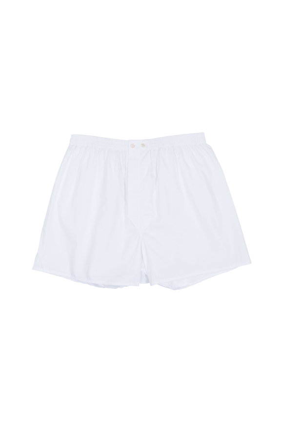 Derek Rose Solid White Boxer Shorts