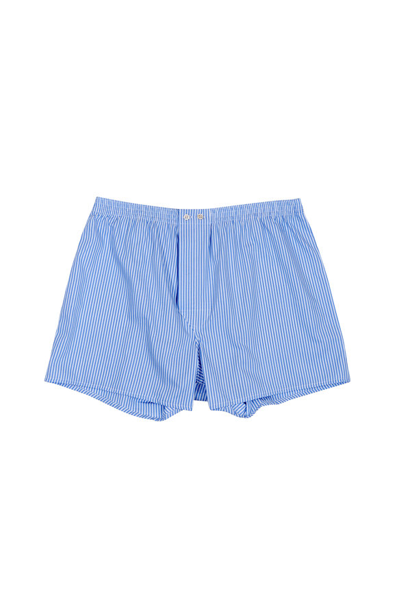 Derek Rose Blue & White Striped Boxer Shorts