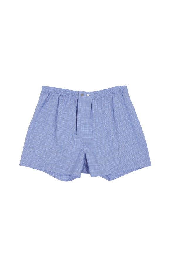 Derek Rose Solid Blue Check Boxer Shorts