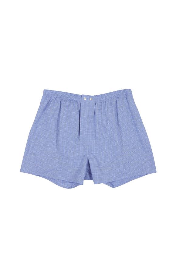 Derek Rose Solid Blue Check Boxer Shorts