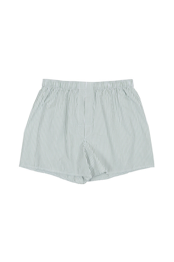 Charlie Dog Boxer Company The Colin Green & White Striped Boxer Shorts