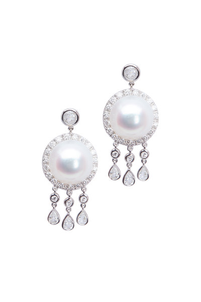 Assael - White Gold South Sea Pearl Diamond Button Earrings