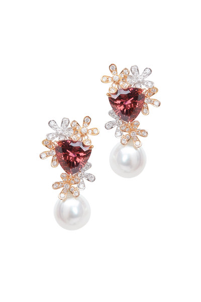 Assael - Gold Tourmaline & South Sea Pearl Diamond Earrings