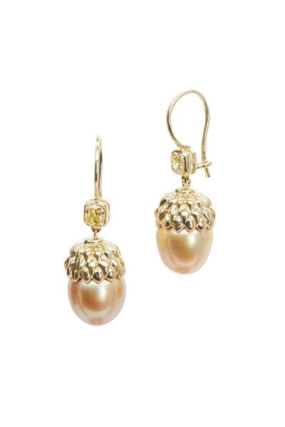 Assael - 18K Gold South Sea Pearl Diamond Drop Earrings
