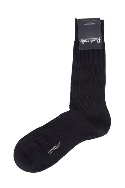Pantherella - Black Merino Wool Dress Socks