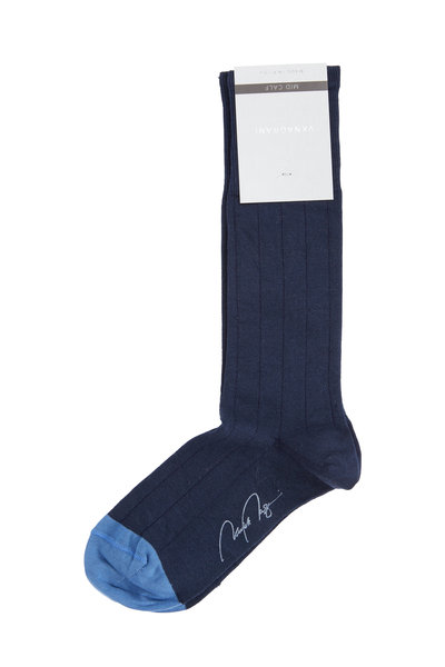 VKNagrani - Navy Blue Cotton Fancy Dress Socks