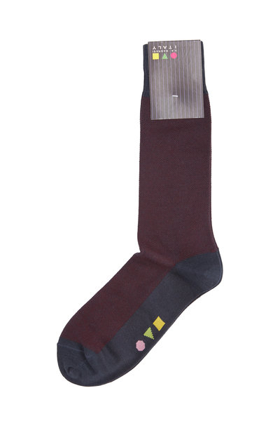 VKNagrani - Burgundy & Gray Fancy Dress Socks