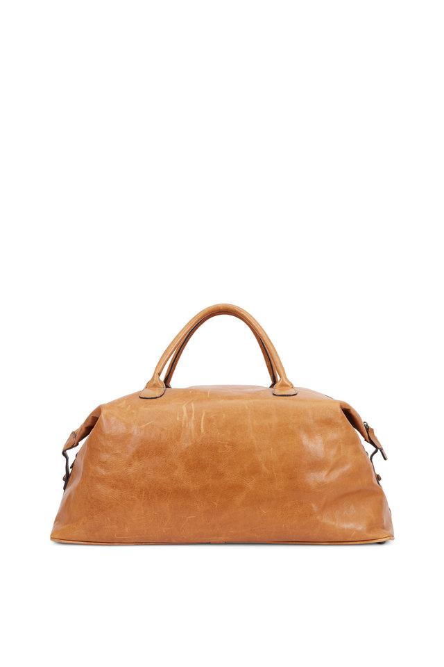 Benedict Titan Milled Honey Leather Weekender Bag