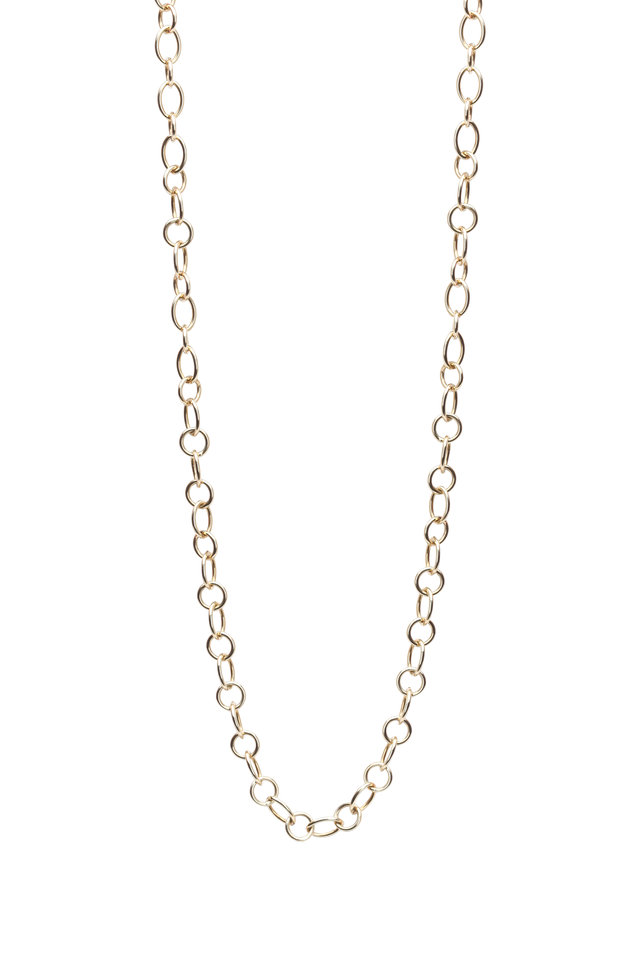 Yellow Gold Ribbon Chain Necklace